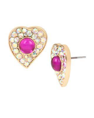 Steve Madden Breaking Hearts Stud Earrings Pink
