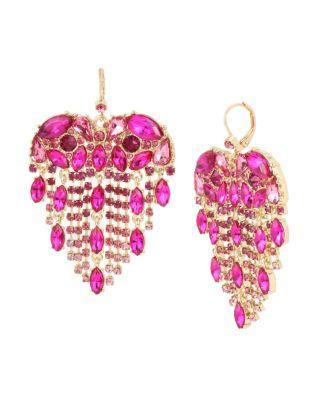 Steve Madden Breaking Hearts Fringe Earrings Pink