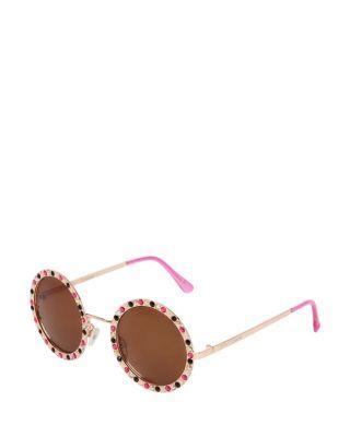 Steve Madden Bling Time Round Sunglasses Gold