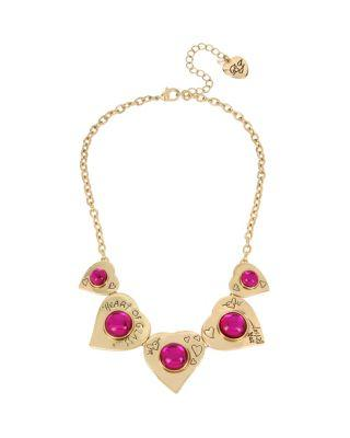 Steve Madden Breaking Hearts Frontal Necklace Pink