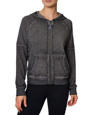 Steve Madden Icy Fleece Side Ribbed Zip Jacket Coral