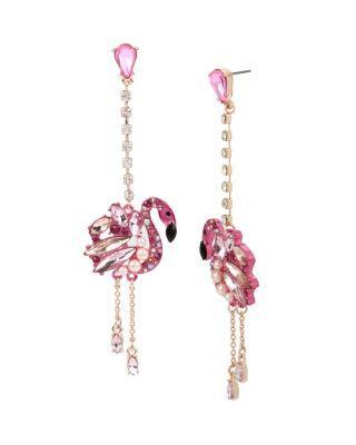 Steve Madden Statement Critters Flamingo Linear Earrings Pink