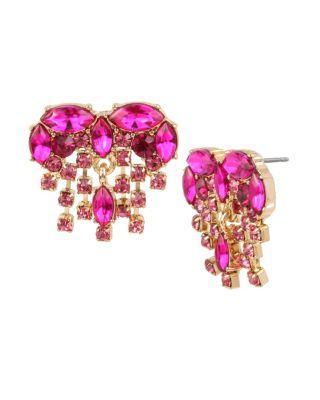 Steve Madden Breaking Hearts Button Earrings Pink