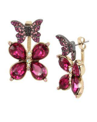 Steve Madden Butterfly Dreams Front Back Earrings Pink