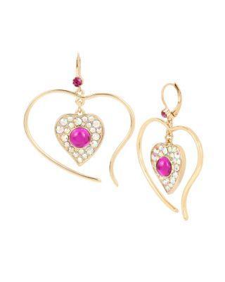 Steve Madden Breaking Hearts Drop Earrings Pink