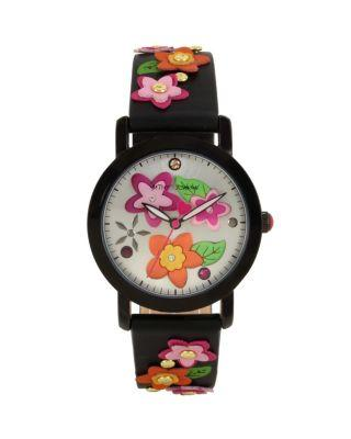 Steve Madden 3-d Flower Child Black Watch Black
