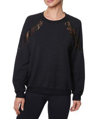Steve Madden Lovely Lace Inset Sweatshirt Black