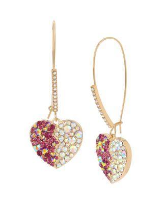 Steve Madden Breaking Hearts Hook Earrings Pink
