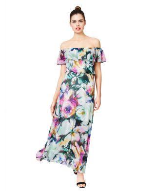 Steve Madden Wispy Floral Strapless Ruffle Maxi Dress Multi