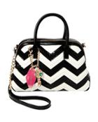 Steve Madden Suite Life Chevron Dome Satchel Black/white