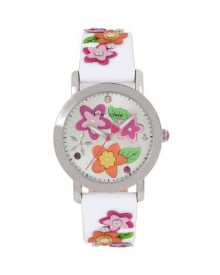 Steve Madden 3-d Flower Child White Watch White