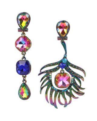 Steve Madden Statement Critters Peacock Earrings Multi
