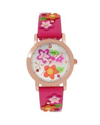 Steve Madden 3-d Flower Child Pink Watch Pink