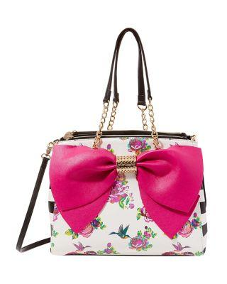 Steve Madden Welcome To The Big Bow Satchel Floral