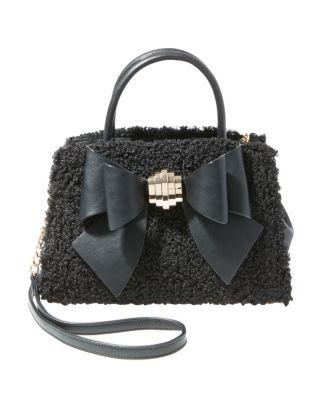 Steve Madden Bow You See It Fuzzy Removable Bow Satchel Black