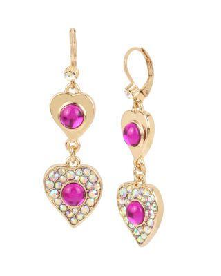 Steve Madden Breaking Hearts Double Drop Earrings Pink