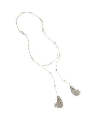 Steve Madden Betsey Blue Jazz Tassel Necklace Crystal