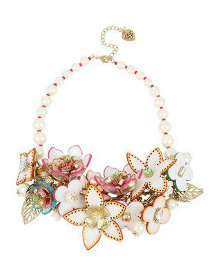 Steve Madden Flat Out Floral Statement Necklace Multi