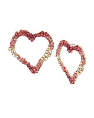 Steve Madden Not Your Babe Heart Earrings Pink