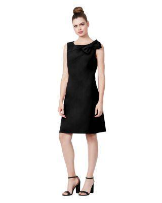 Steve Madden Side Bow Scuba Crepe Dress Black