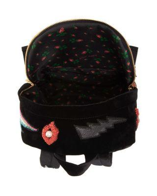 Steve Madden Show Stopper Patched Velvet Backpack Black
