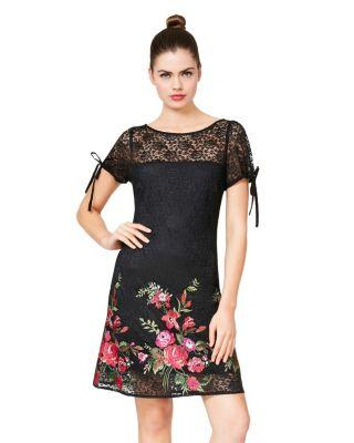 Steve Madden Lace Dress With Embroidery And Tie Details Black Multi
