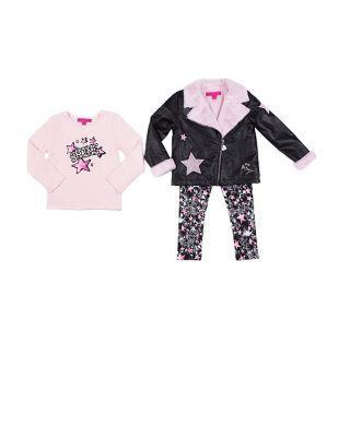 Steve Madden Rock Star 4-6x 3 Piece Jacket Set Black/pink