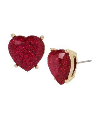 Steve Madden Not Your Babe Fuchsia Heart Stud Fuchsia