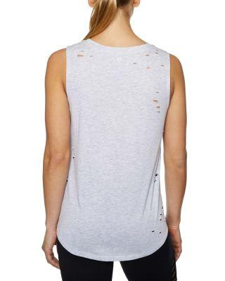 Steve Madden Slay All Day Distressed High Low Muscle Tee Grey
