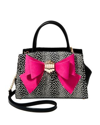 Steve Madden Bow You See It Dotty Removable Bow Satchel Black/pink
