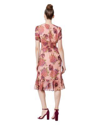 Steve Madden Floral Ruffle Hem Dress Pink Multi