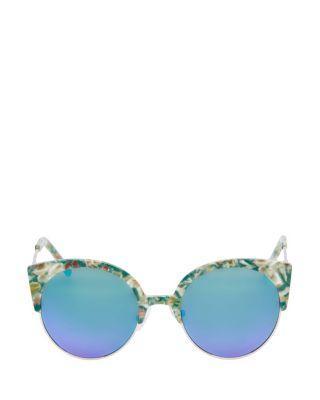 Steve Madden Animal Top Round Sunglasses Green Multi