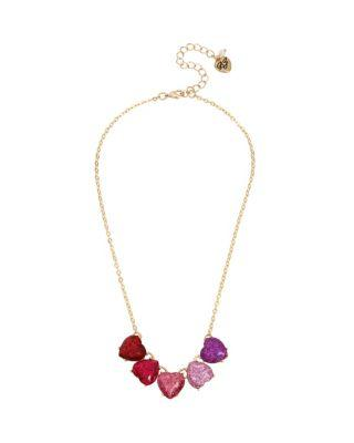 Steve Madden Not Your Babe Ombre Heart Necklace Multi