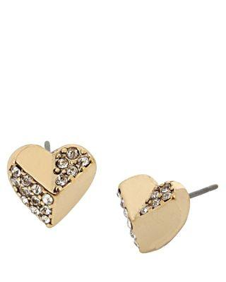 Steve Madden Hearts And Arrows Stud Earrings Crystal