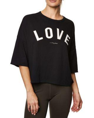 Steve Madden Love Distressed Boxy Tee Grey