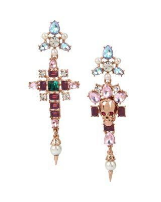 Steve Madden Duchess Of Betseyville Cross Mismatch Earrings Multi