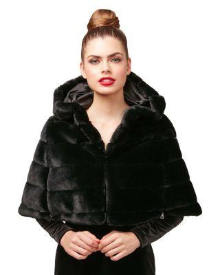 Steve Madden In The Dark Of The Night Faux Fur Capelet Black