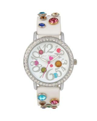Steve Madden Bejewelled Betsey White Watch White