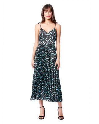 Steve Madden Pretty Pleats Floral Dress Black Multi