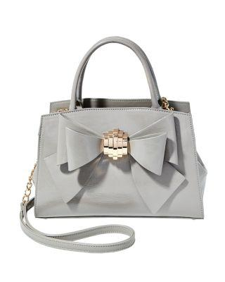 Steve Madden Bow You See It Removable Bow Satchel Grey