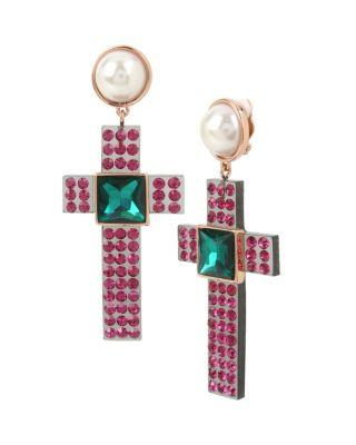 Steve Madden Duchess Of Betseyville Cross Clip Earrings Multi