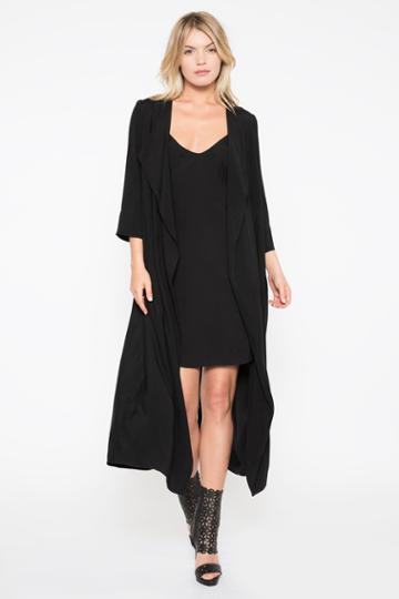 Black Halo Cassini Lip Dress With Duster In Black, Size S