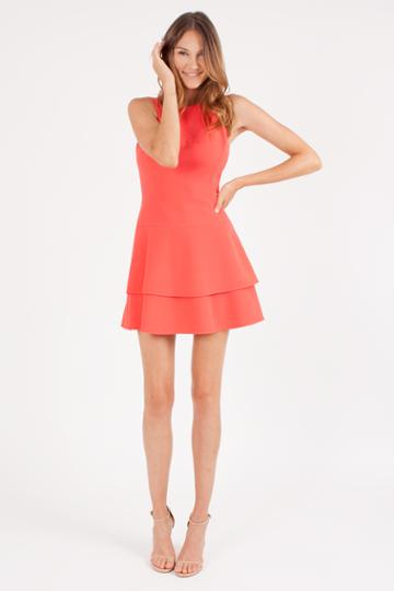 Black Halo Cheryl Mini Dress In Canyon Coral, Size 0