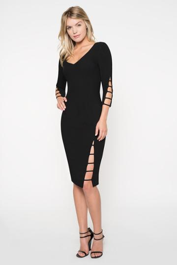 Black Halo Rizzo Sheath Dress In Black, Size 0