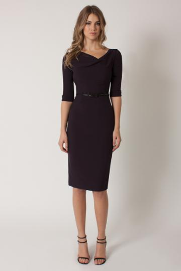 Black Halo  Sleeve Jackie O Dress In Eclipse, Size 0