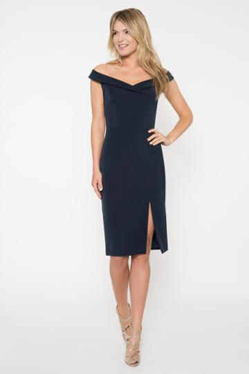 Black Halo Hepburn Sheath Dress In Pacific Blue , Size 0