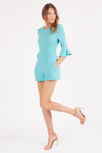 Black Halo Brooklyn Playsuit In Atlantic Aqua, Size 0