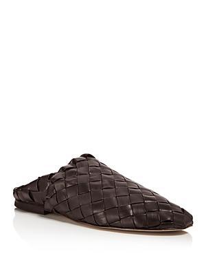 Bottega Veneta Men's Intrecciato Fondente Leather Slippers