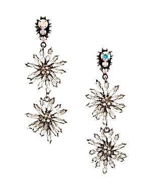 Marni Strass Flower Clip-on Drop Earrings