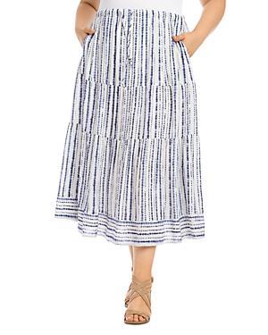 Karen Kane Plus Tie-dyed Striped Tiered Midi Skirt